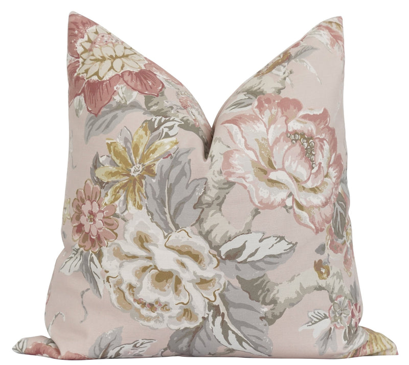 Pink Cherry Blossom Floral Pillow