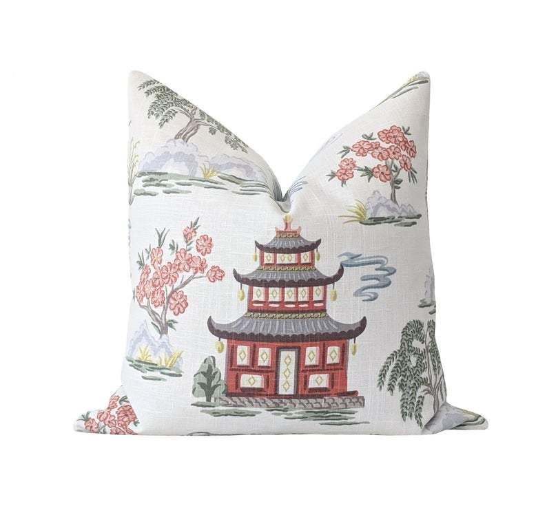 Coral Chinoiserie Pagoda Toile Throw Pillow - Land of Pillows