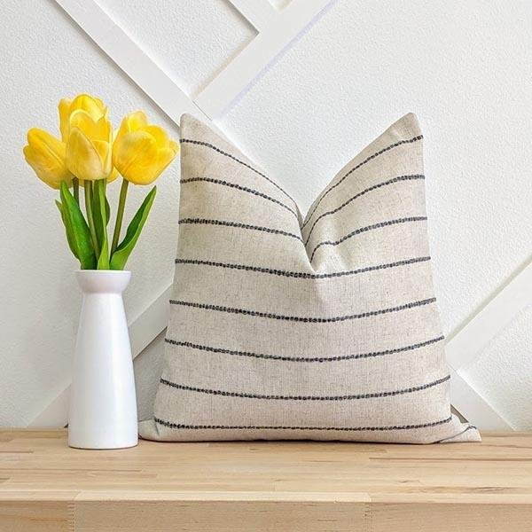 Creamy Ivory Woven Charcoal Stripe Pillow - Land of Pillows