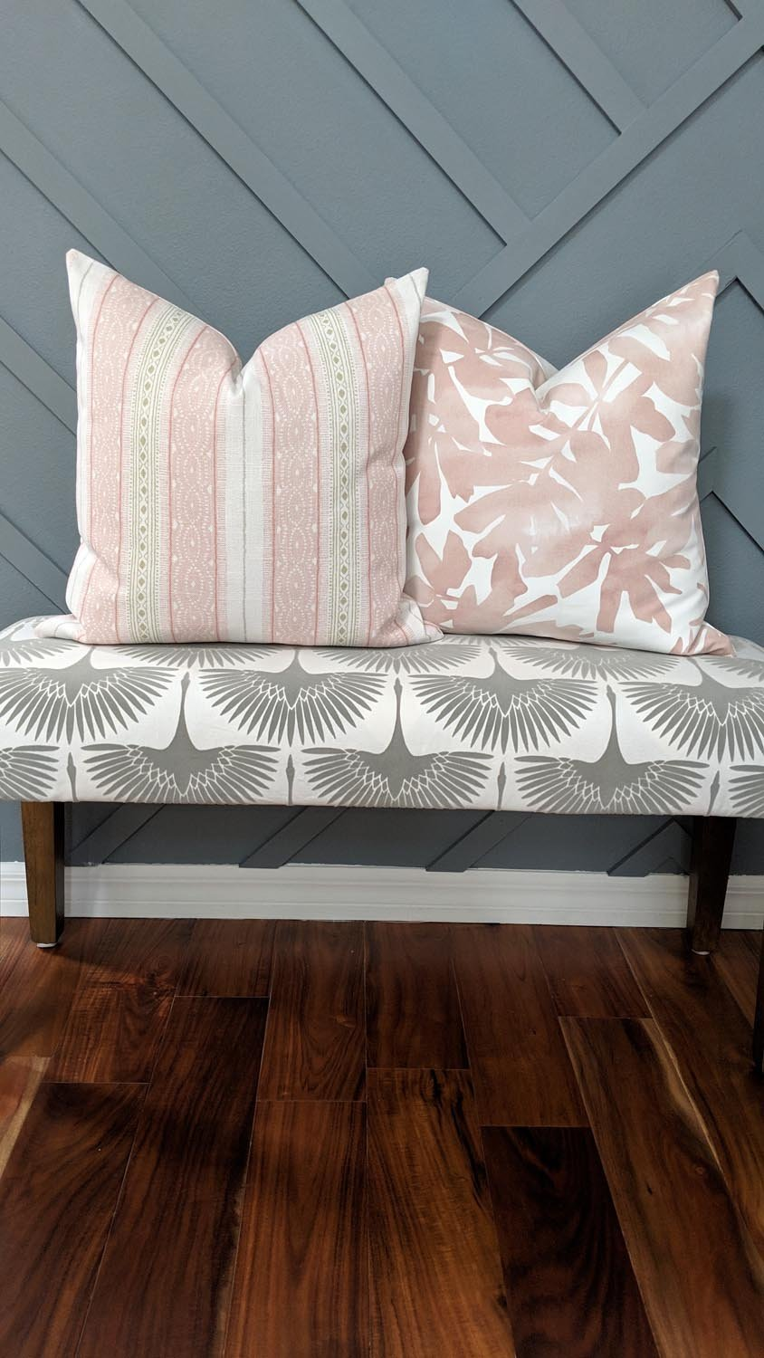 Dawn Blush Pink Tropical Palm Leaf Pillow - Land of Pillows