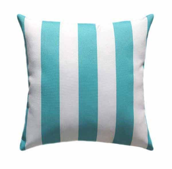 Deck Stripe Ocean Blue Vertical Stripe Outdoor Pillow - Land of Pillows
