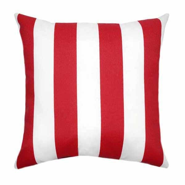 Deck Stripe Rojo Red Vertical Stripe Outdoor Pillow - Land of Pillows
