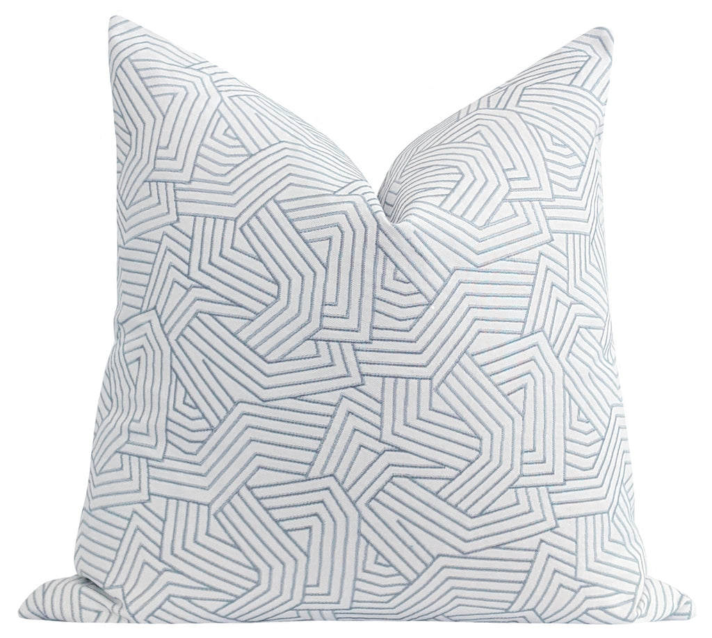 Ice Blue Deconstructed Embroidered Abstract Stripe Pillow