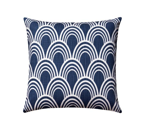 Denim Blue Art Deco Pillow - Land of Pillows