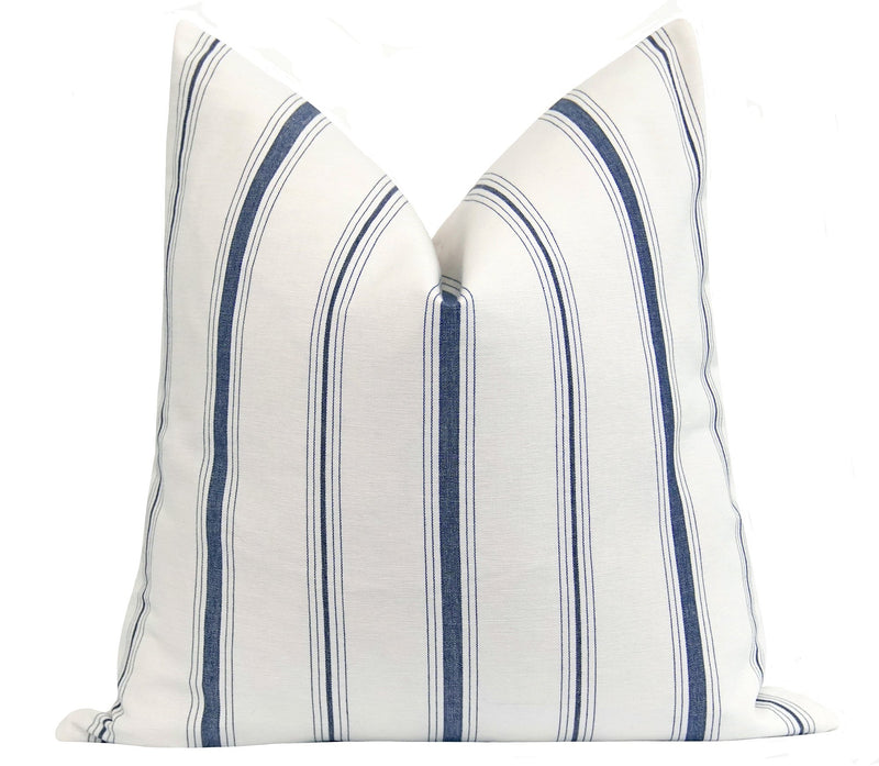Denim Blue French Cottage Stripe Pillow - Land of Pillows
