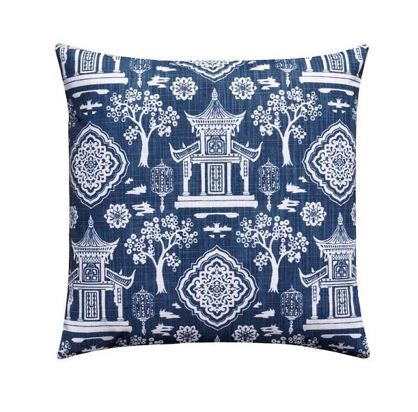Denim Blue Pagoda Chinoiserie Pillow - Land of Pillows
