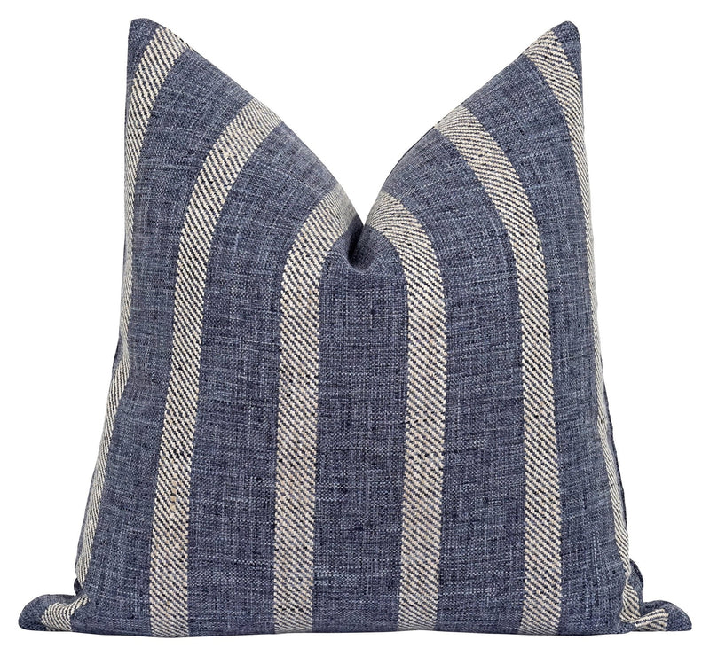 Denim Blue French Cottage Stripe Pillow