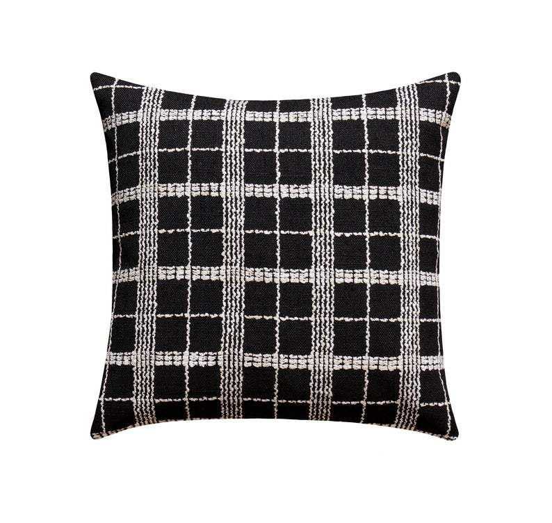 Domino Woven Black & Off White Plaid Pillow - Land of Pillows