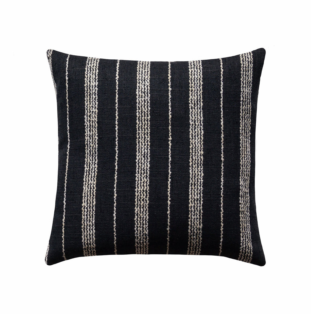 Domino Woven Black & Off White Stripe Pillow - Land of Pillows