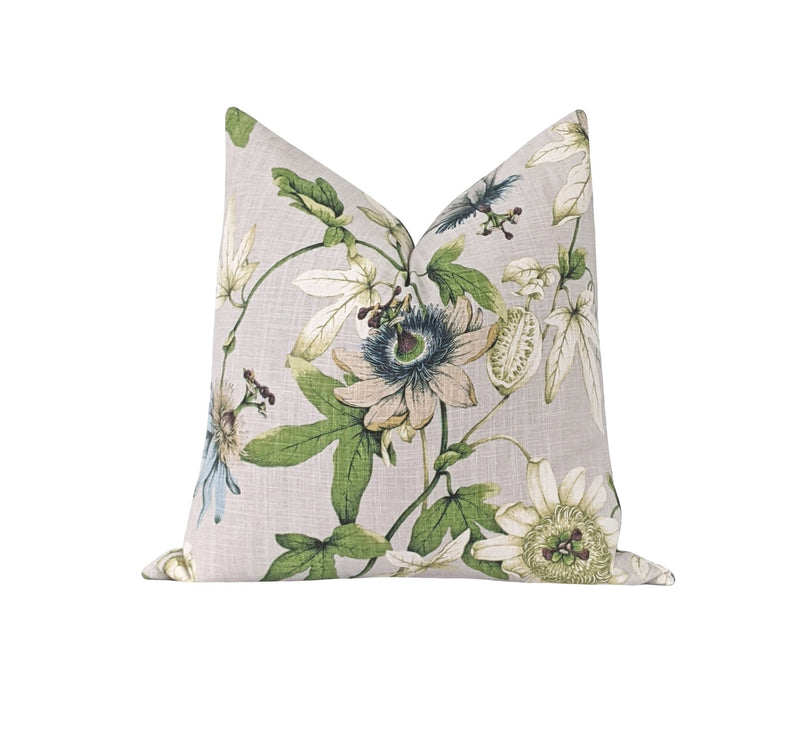Dove Grey Linen Floral Pillow - Land of Pillows