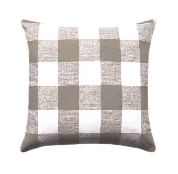 Black Grey Cream Tan Tartan Plaid Pillow