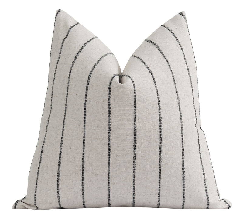 Creamy Ivory Woven Charcoal Stripe Pillow