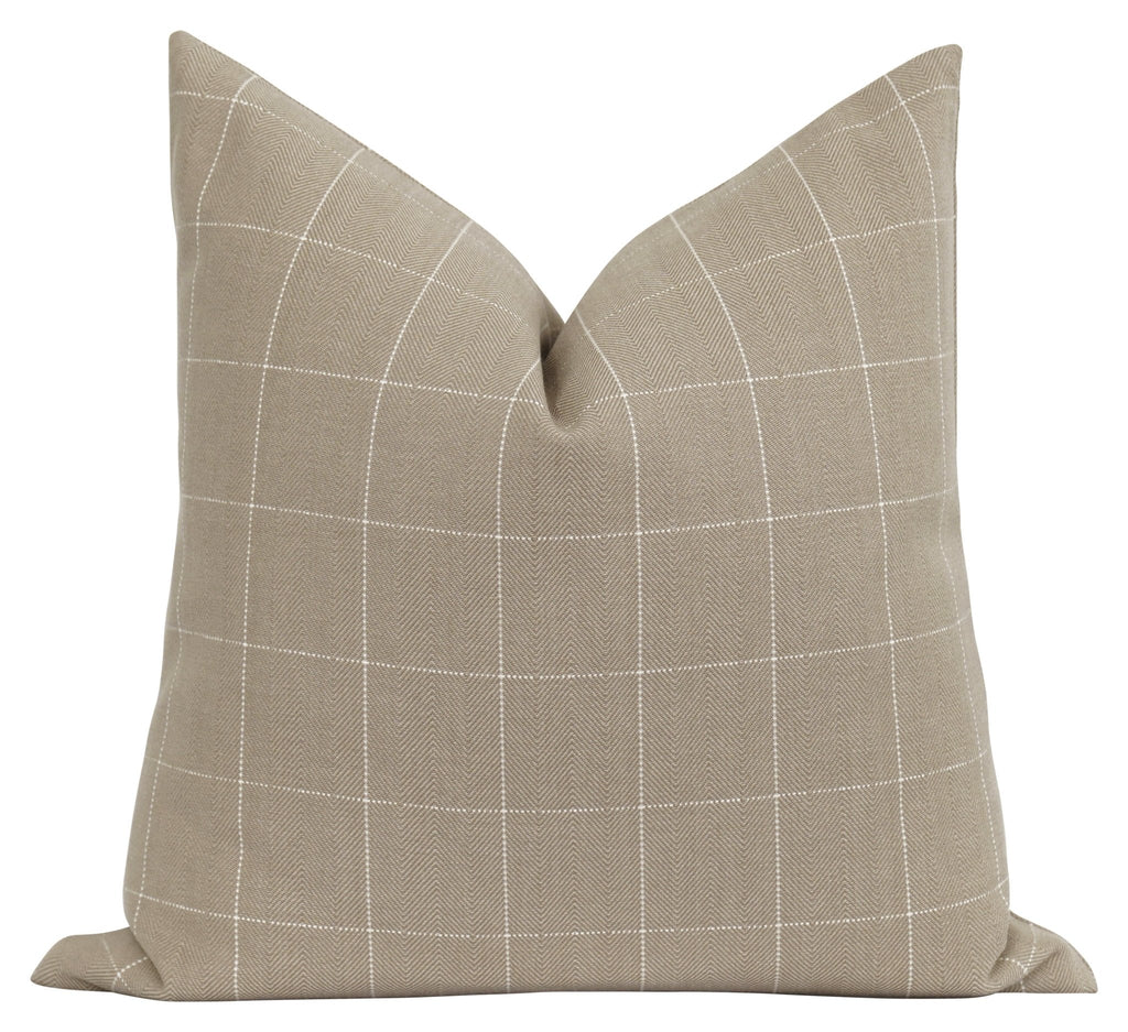 Fayette Oatmeal Woven Plaid Pillow - Land of Pillows