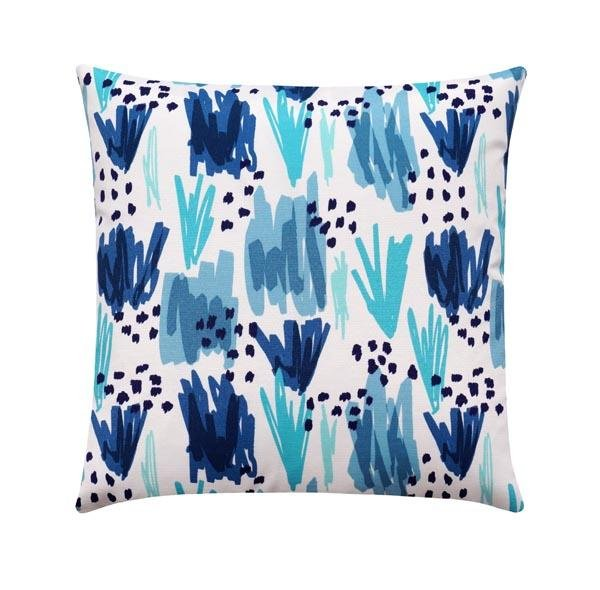 Flicker Nautical Navy and Ocean Blue Outdoor Pillow - Land of Pillows