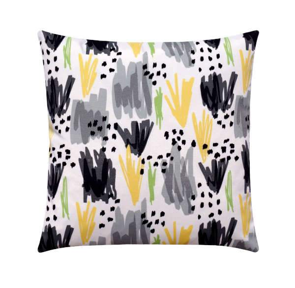 Flicker Stone Black Grey and Yellow Outdoor Pillow - Land of Pillows
