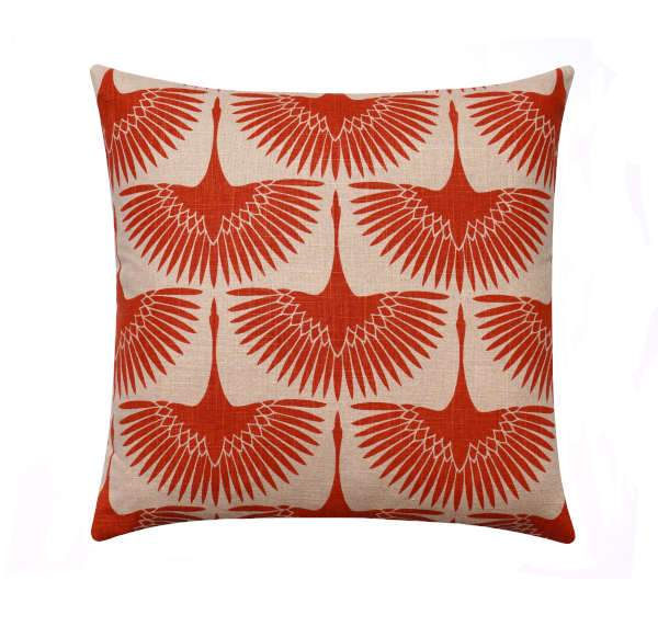 Flock Circa Tigerlily Orange Linen Bird Silhouette Pillow - Land of Pillows
