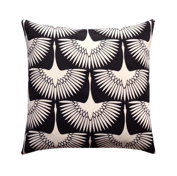 Flock Midnight Black Bird Silhouette Outdoor Pillow - Land of Pillows