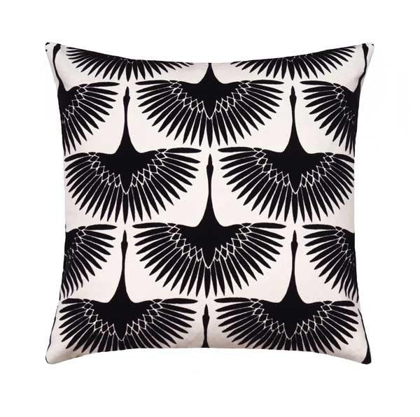 Flock Onyx Black Velvet Bird Silhouette Pillow - Land of Pillows