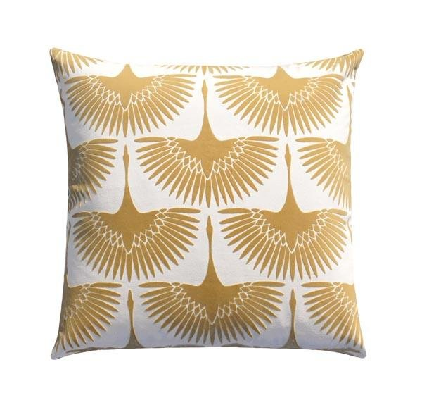 Flock Oro Pale Gold Velvet Bird Silhouette Pillow - Land of Pillows