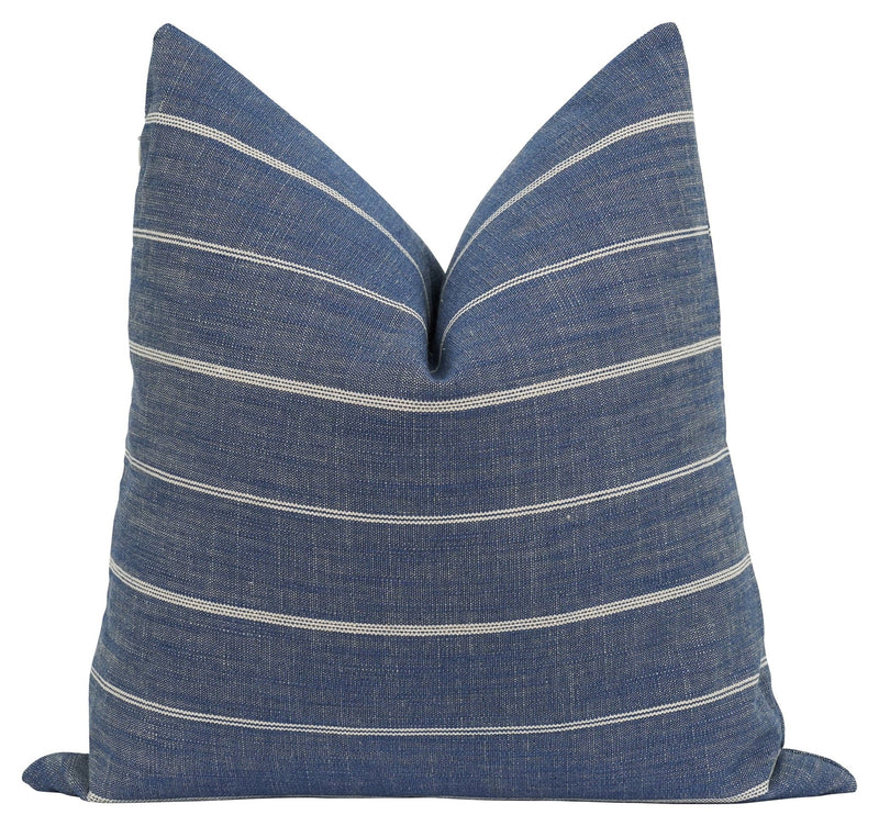 Fritz Denim Blue Rustic Woven Stripe Pillow - Land of Pillows