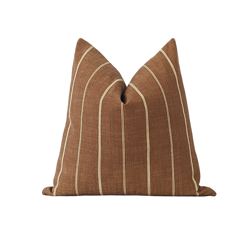 Fritz Tobacco Brown Rustic Woven Stripe Pillow - Land of Pillows