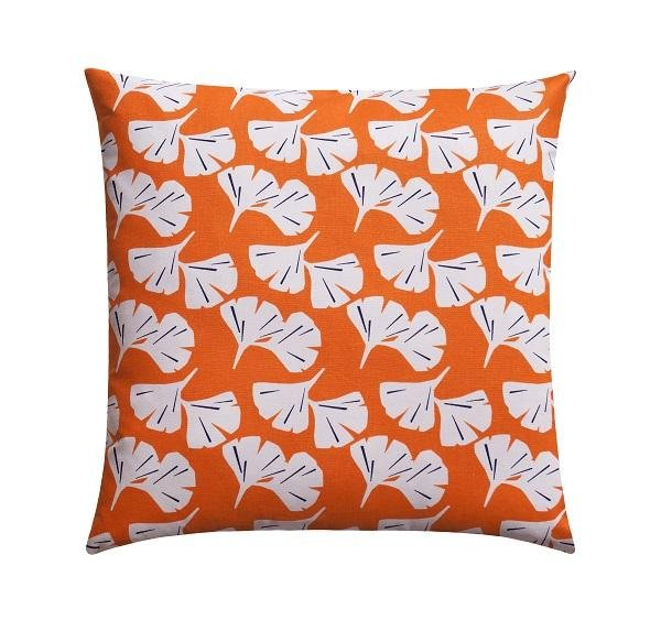 Ginkgo Monarch Orange Floral Pillow - Land of Pillows