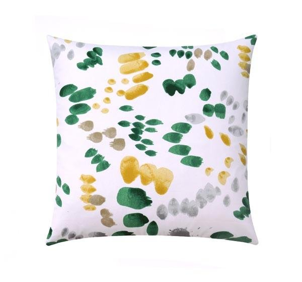 Golden Hour Green and Yellow Abstract Brushstroke Pillow - Land of Pillows
