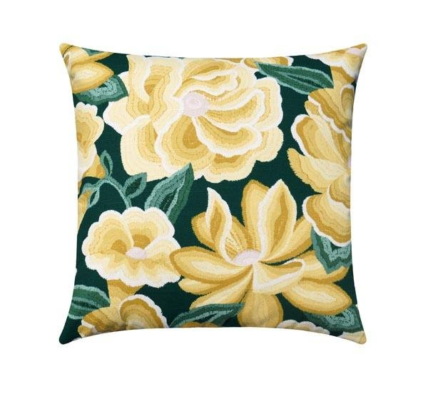 Golden Hour Green and Yellow Floral Pillow - Land of Pillows