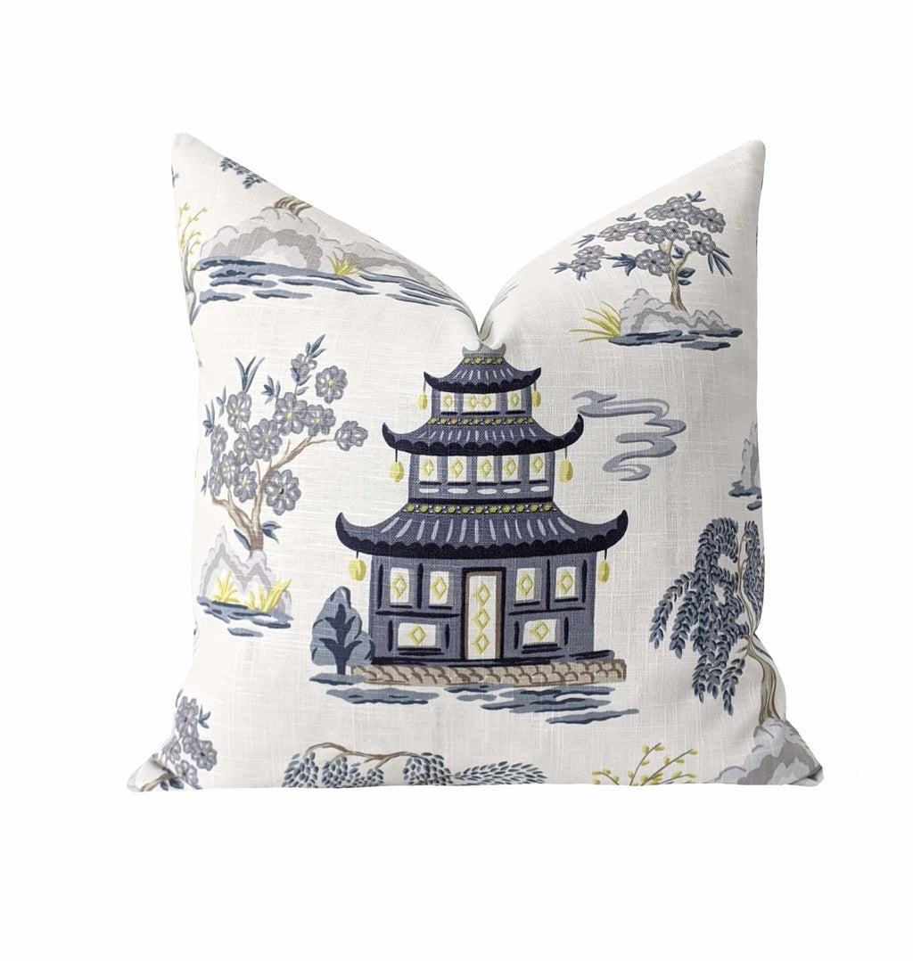 Gray Chinoiserie Pagoda Toile Throw Pillow - Land of Pillows