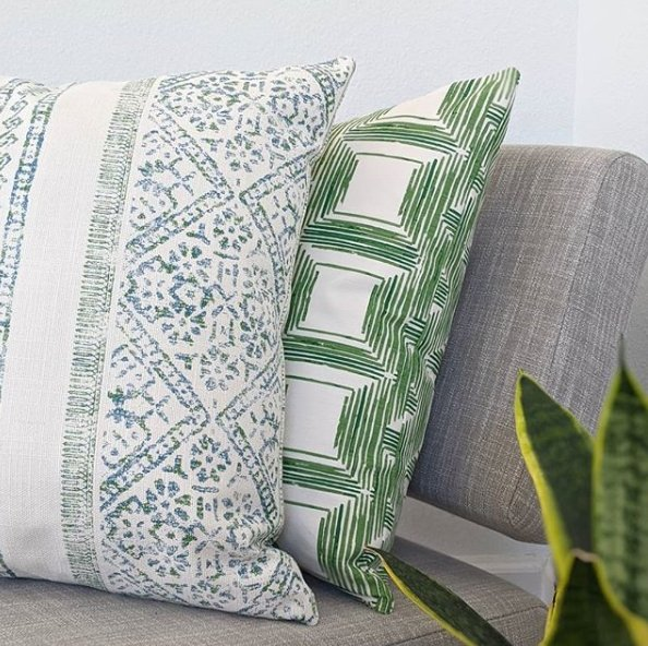 Green Bohemian Squares Pillow - Land of Pillows
