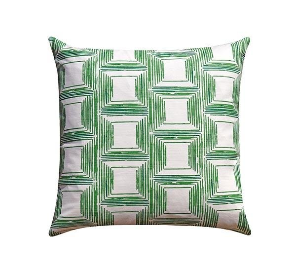 Green Bohemian Stripe Squares Pillow - Land of Pillows
