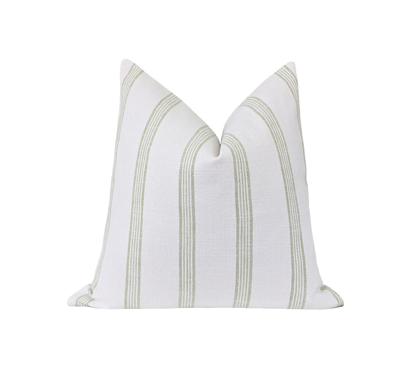 Green Tea French Country Stripe Linen Pillow - Land of Pillows