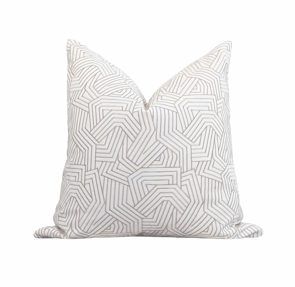 Greige Deconstructed Abstract Stripe Pillow Cover - Land of Pillows
