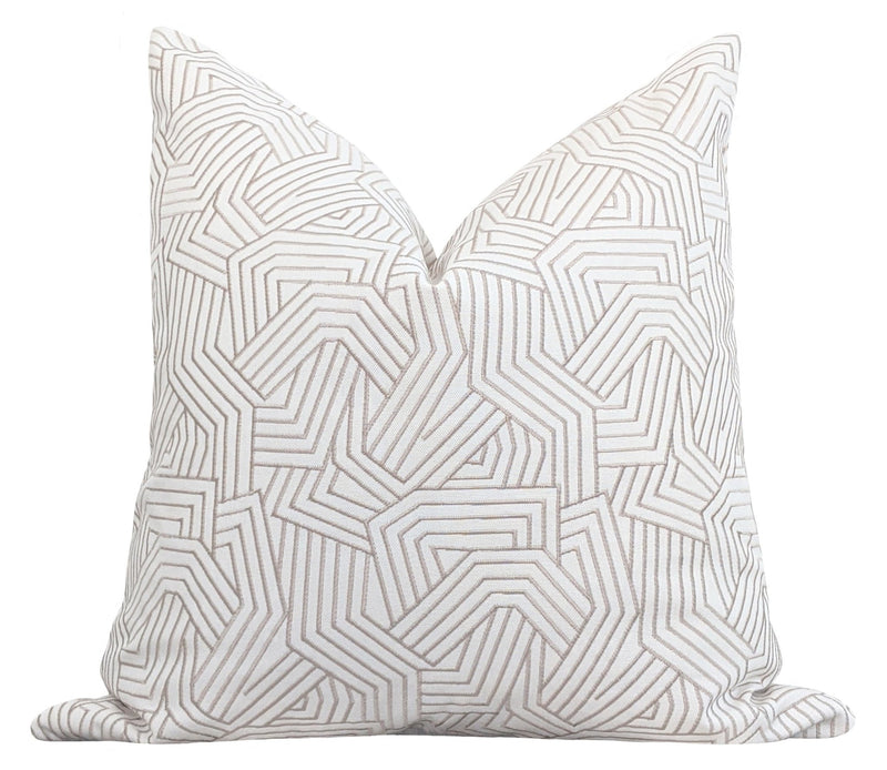 Greige Deconstructed Embroidered Abstract Stripe Pillow - Land of Pillows