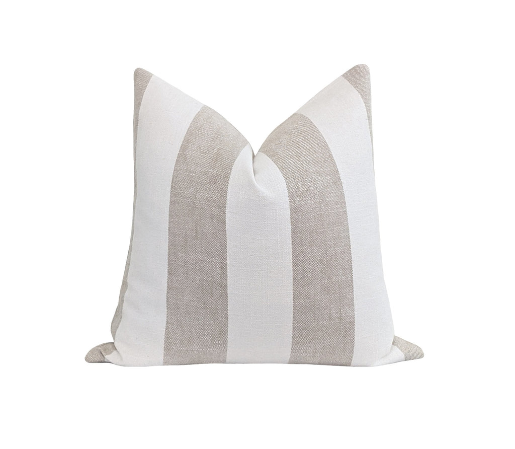Greige Wide Country Stripe Linen Pillow - Land of Pillows