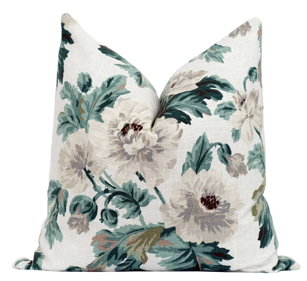 Greta Paradise Green Floral Pillow - Land of Pillows