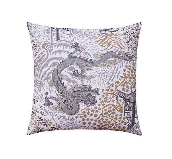 Grey and Gold Chinese Dragon Chinoiserie Toile Pillow - Land of Pillows