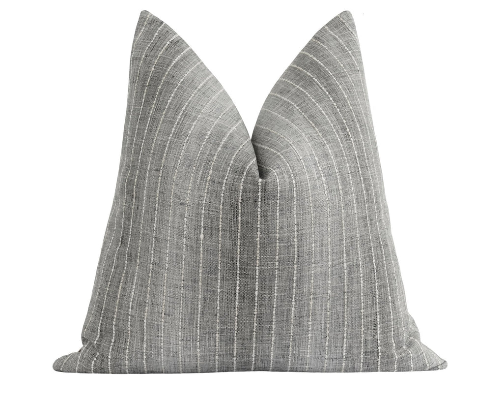 Grey Ombre Woven Stripe Pillow - Land of Pillows