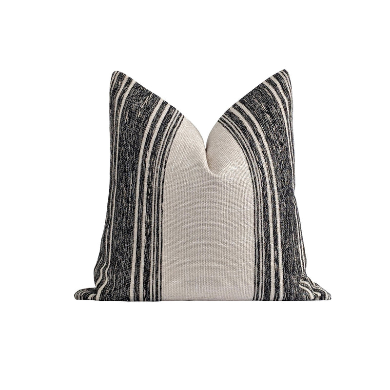 Hampton Washed Black Stripe Pillow - Land of Pillows