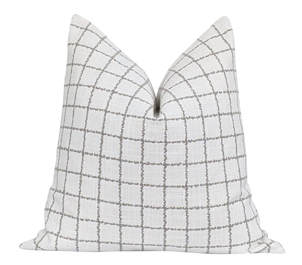 Harrison Chalk Woven Off White Plaid Pillow - Land of Pillows