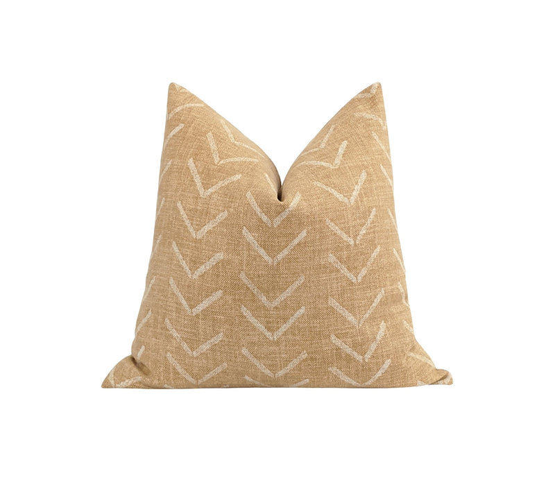 Aberdeen Woven Tan and Cream Stripe Pillow