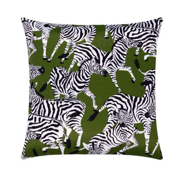 Herd Together Leaf Green Zebra Outdoor Pillow - Land of Pillows