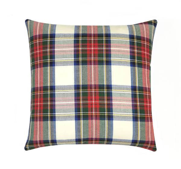 Lipstick Red Check Plaid Pillow