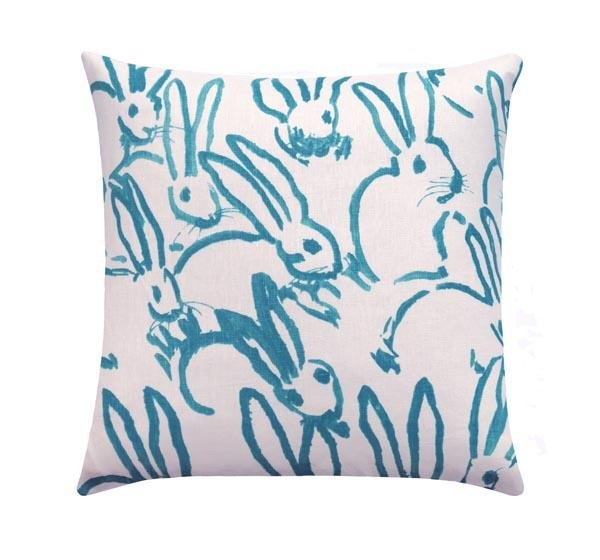 Hutch Turquoise Linen Bunny Rabbit Pillow - Land of Pillows