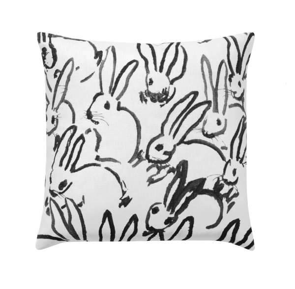 Hutch Washed Black Linen Bunny Rabbit Pillow - Land of Pillows