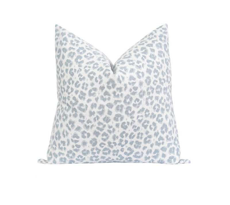 Ice Blue and White Linen Leopard Print Pillow - Land of Pillows