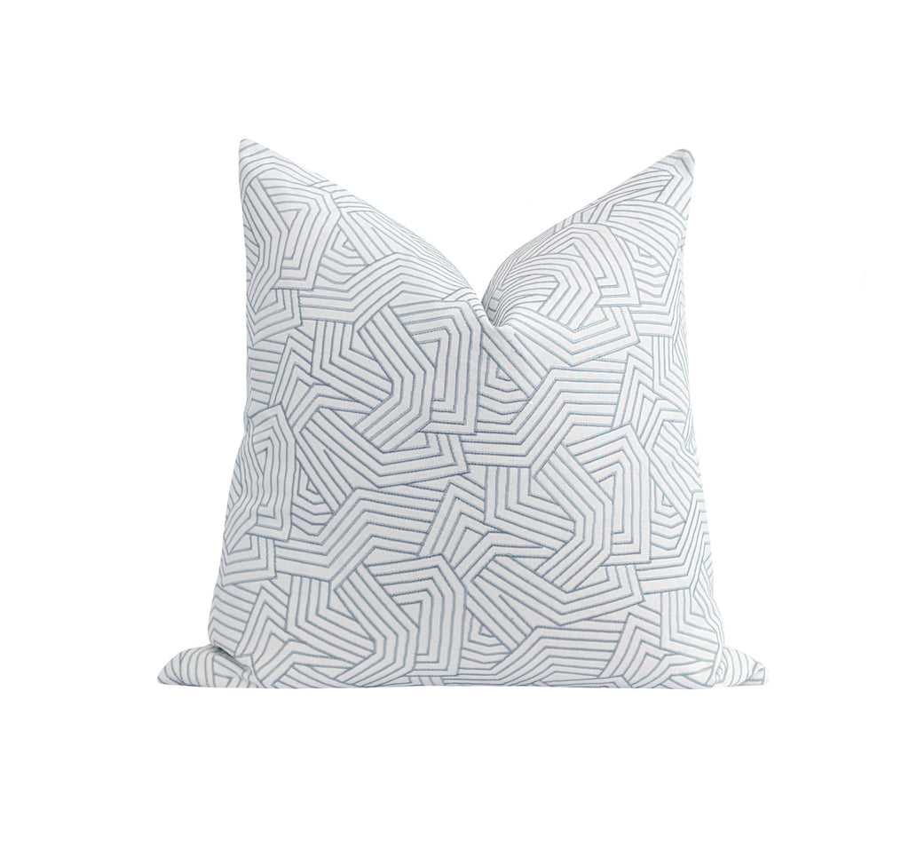 Ice Blue Deconstructed Embroidered Abstract Stripe Pillow - Land of Pillows