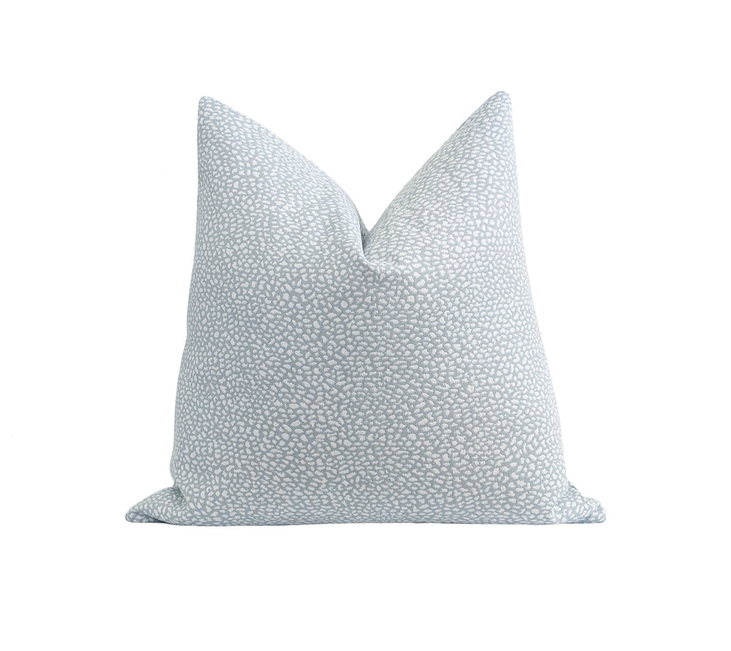 Ice Blue Ikat Polka Dot Pillow - Land of Pillows