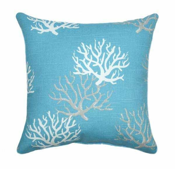 Isadella Coastal Blue Coral Throw Pillow - Land of Pillows