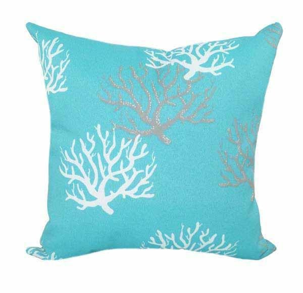 Isadella Ocean Blue Outdoor Coral Throw Pillow - Land of Pillows